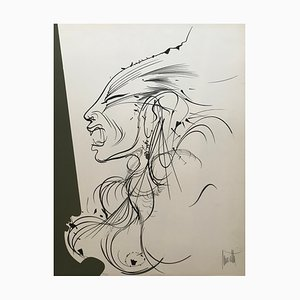 Raymond Moretti, The Lioness Woman, Lithography on Paper Signed in Pencil