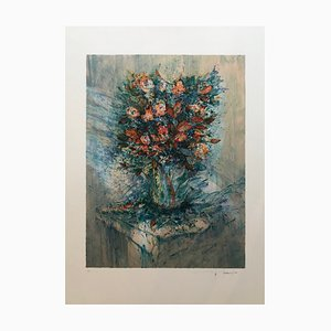 Francois D'izarny, Still Life with Bouquet, Hand Signed Lithograph