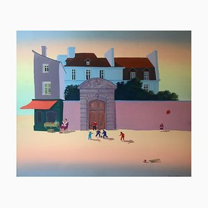 Stevan Petrovic, Children's Games, Signed Acrylic on Canvas