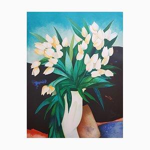 Claude Gaveau, Bouquet, Lithograph Signed in Pencil