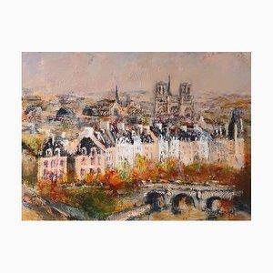 Urban Huchet, Ein Blick auf Paris, Öl auf Leinwand