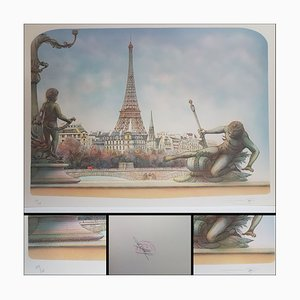 Urbain Huchet & Rolf Rafflewski, Eiffel Tower, Lithographs, Set of 2