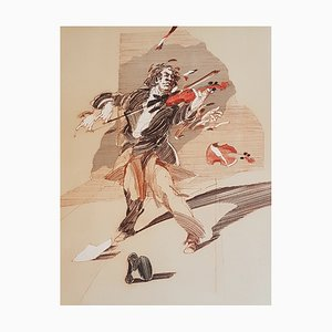 Claude Weisbuch, The Violinist, Hand Signed Lithograph