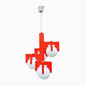 Italian Lacquered Wood and Opaline Glass Suspension Lamp, 1960s