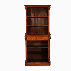 Burl Walnut Open Bookcase, 19th Century