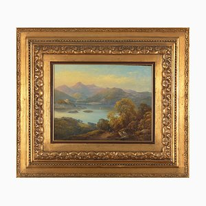 Castelli Alessandro, Between Neoclassicism and Romanticism, Mountainous Landscape, 19th Century, Framed Oil on Canvas