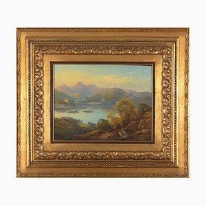 Castelli Alessandro, tra neoclassicismo e romanticismo, paesaggio montuoso, XIX secolo, olio su tela incorniciata