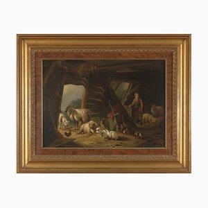Pieter Plas, Romanticism, Sheepstable, 1849, Framed Oil on Panel