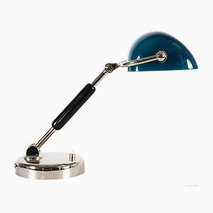 Art Deco Bauhaus Nickel-Plated Lamp with Original Glass Shade, 1920s