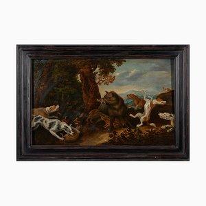 Atribuido a Jan van Kessel, Barroco, Scene Hunting, Amberes, siglo XVII