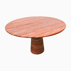 Table de Salle à Manger en Travertine Rouge Style Angelo Mangiarotti