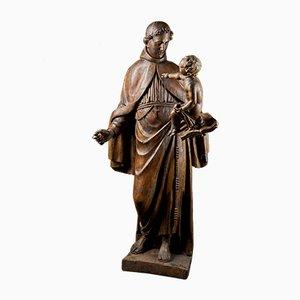 Barocke italienische Schule aus Holz aus dem 17. Jh. Holzskulptur des heiligen Antonius mit Christusfigur