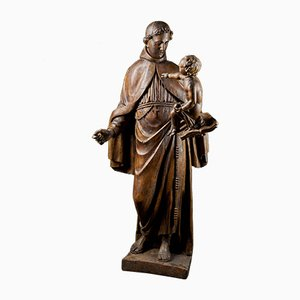 Late 17th-Century Baroque Italian School Wooden Sculpture of Saint Anthony Carrying Christ