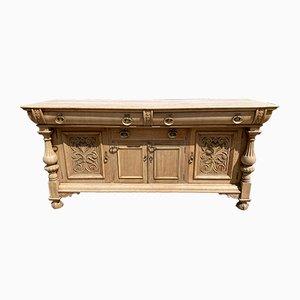 Credenza grande Art Nouveau in legno di quercia sbiancato