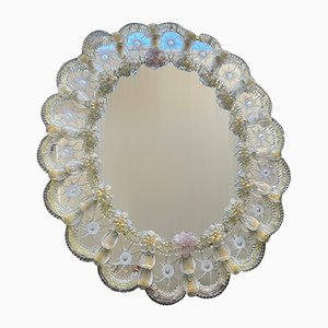 Big Venetian Murano Glass Flower Mirror