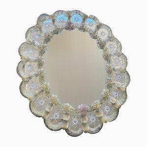 Großer venezianischer Spiegel aus Muranoglas in Blumen-Optik