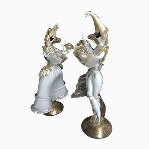Statuette di ballerini mascherati di Cesare Toso, set di 2