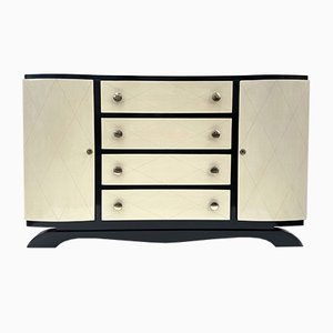 Parchment Credenza or Chest of Drawers, 1940s