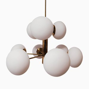 Brass Sputnik 9-Light Ceiling Lamp