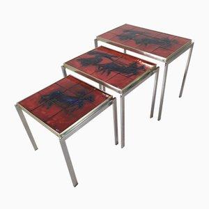 Tavoli ad incastro vintage in ceramica, set di 3