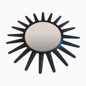Specchio a forma di sole in metallo nero
