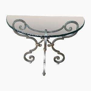 Wrought Iron Console with Glass Top