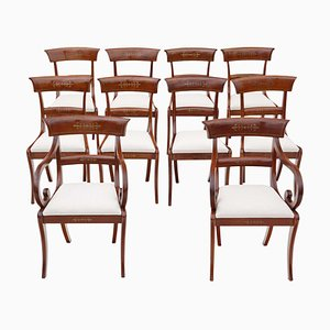 Chaises de Salle à Manger Regency en Acajou, 19ème Siècle, Set de 10