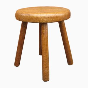 Oak Stool in the Style of Charlotte Perriand, France, 1960s