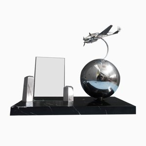 Fighter Airplane on Metal Globe with Black Marble Base