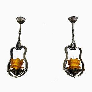 Wrought Iron and Orange Glass Pendant Lights, Set of 2