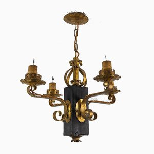 Gilt Wrought Iron and Black Wood Chandelier