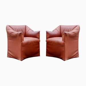 Tentazione Oxred Leather Armchairs by Mario Bellini for Cassina, Set of 2