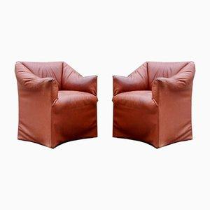 Tentazione Sessel aus brüniertem Leder von Mario Bellini für Cassina, 2er Set