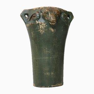 Vaso Art Déco in ceramica con testate Ram, anni '20