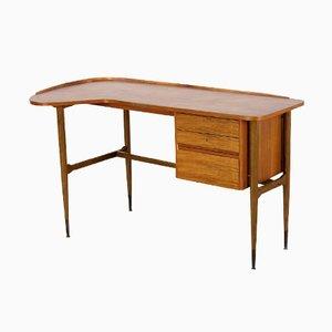 Gebogener Mid-Century Nussholz Schreibtisch, 1960er