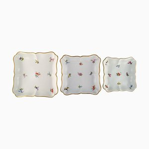 Antique Dishes in Hand-Painted Porcelain with Flowers from Meissen, Set of 3