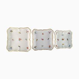 Plats Antiques en Porcelaine Peinte à la Main avec Fleurs de Meissen, Set de 3