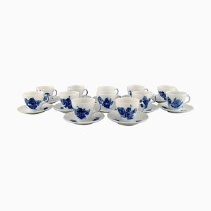 Blue Flower Curved Espresso Cups with Saucers from Royal Copenhagen, 1980s, Set of 24