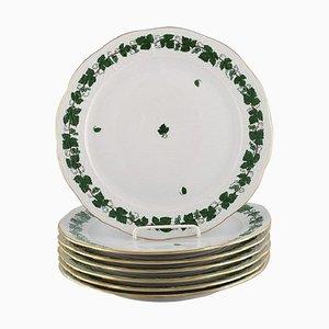 Assiettes Vertes Feuille de Vigne & Vigne en Porcelaine Peinte à la Main de Herend, Set de 7