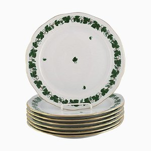 Piatti da portata a forma di foglie d'uva verdi in porcellana dipinta a mano di Herend, set di 7