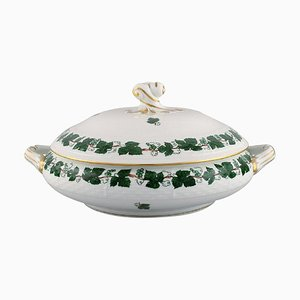 Green Grape Leaf & Vine Lidded Tureen in Hand-Painted Porcelain from Herend