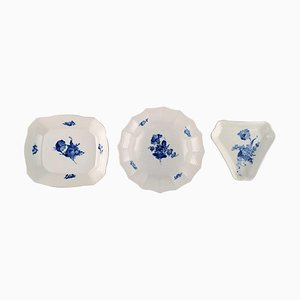 Blue Flower Bowls or Dishes from Royal Copenhagen, 1960s, Set of 3