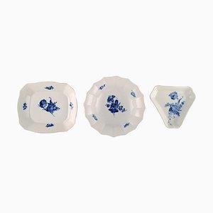 Bols à Fleurs Bleus ou Vaisselle de Royal Copenhagen, 1960s, Set de 3