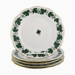 Assiettes en Vigne & Feuille de Vigne Vertes en Porcelaine Peinte à la Main de Herend, Set de 5