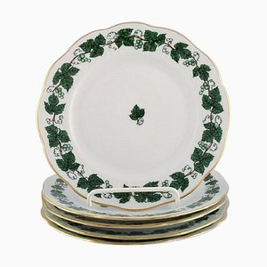 Green Grape Leaf & Vine Side Plates in Hand-Painted Porcelain from Herend, Set of 5