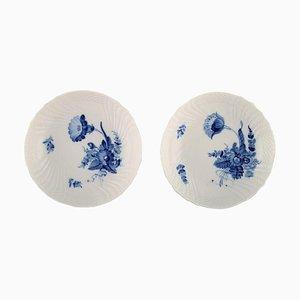 Composti nr. 10/1532 a fiore blu curvi di Royal Copenhagen, anni '60, set di 2