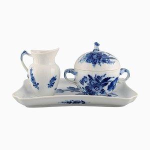 Blue Flower Braided Sugar & Cream Set on a Serving Tray from Royal Copenhagen, Set of 3