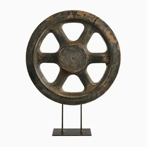 Wooden Wheel on Iron Base