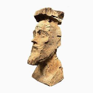 Tête en Bois Sculpté grossièrement