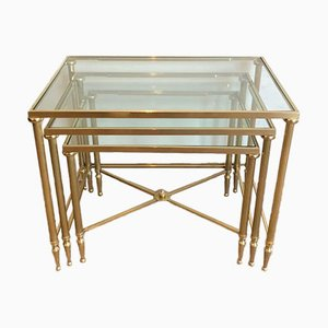French Brass and Glass Nesting Tables from Maison Jansen, 1940s
